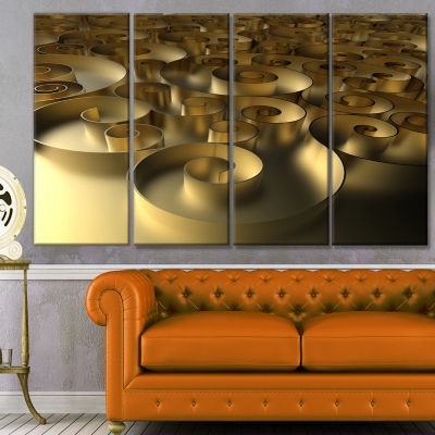Design Art Golden Curly Abstract 3D Design Abstract Canvas Art Print - 4 Panels