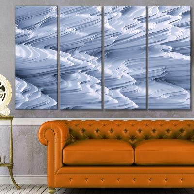 Designart Snowy Hills 3D Texture Abstract CanvasArt Print -4 Panels