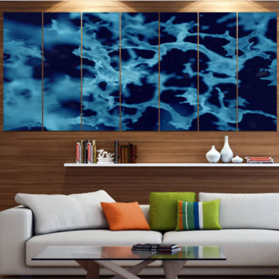 Designart Cloudy Abstract Blue Texture Contemporary Canvas Art Print - 5 Panels