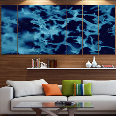 Designart Cloudy Abstract Blue Texture Abstract Canvas Art Print - 5 Panels