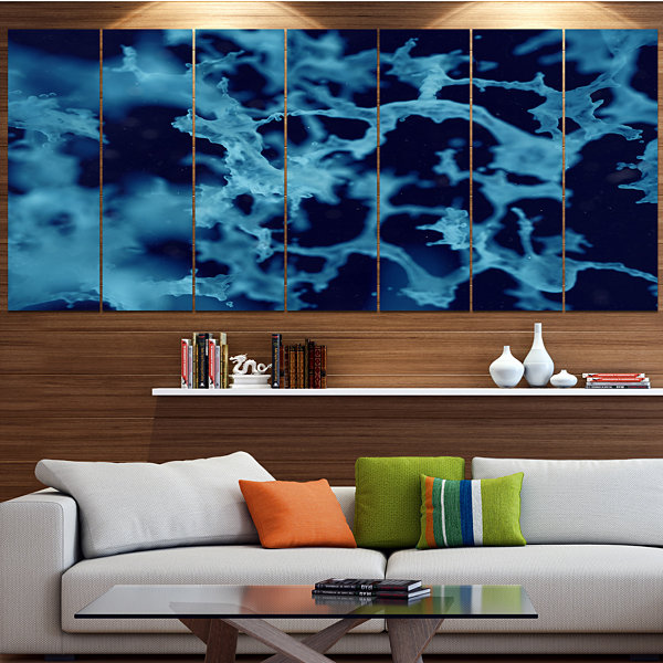 Designart Cloudy Abstract Blue Texture Abstract Canvas Art Print - 7 Panels
