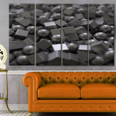 Designart Balls And Cubes 3D Design Abstract Canvas Art Print - 4 Panels