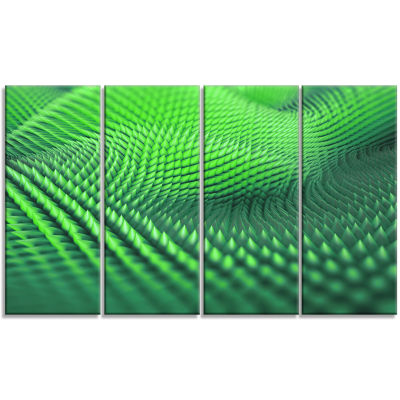 Green 3D Spiny Texture Abstract Canvas Art Print -4 Panels