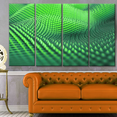 Designart Green 3D Spiny Texture Abstract CanvasArt Print -4 Panels