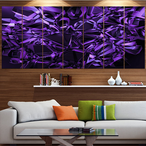 Designart Purple Crystal Texture Design AbstractCanvas Art Print - 4 Panels