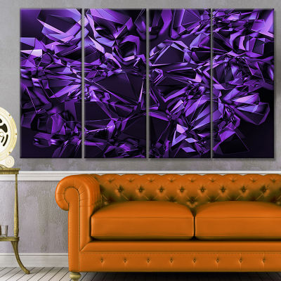 Purple Crystal Texture Design Abstract Canvas ArtPrint - 4 Panels