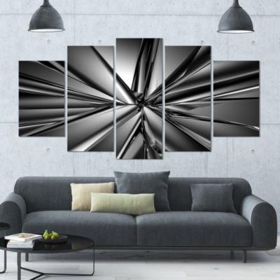 Designart Futuristic Crystal Background AbstractCanvas Art Print - 4 Panels