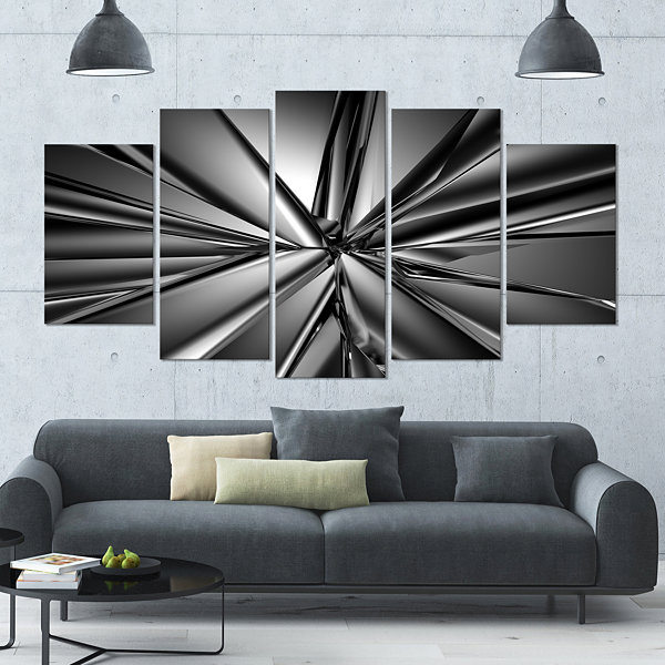 Design Art Futuristic Crystal Background Contemporary Canvas Art Print - 5 Panels