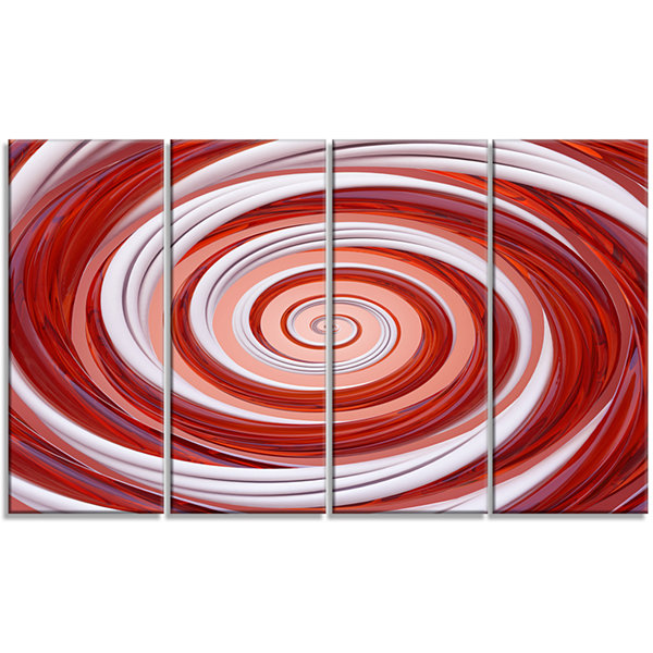 Designart Christmas Candy Cane Spiral Abstract Canvas Art Print - 4 Panels