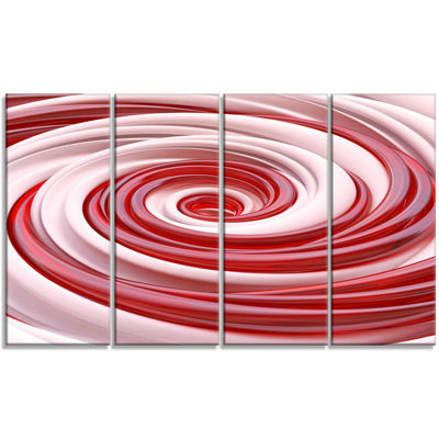 Designart Beautiful Candy Cane Spiral Abstract Canvas Art Print - 4 Panels