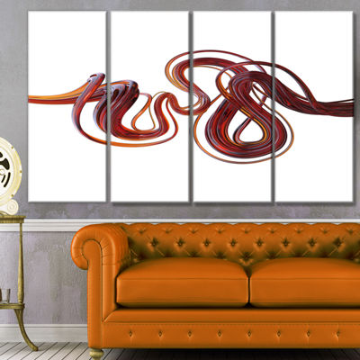 Designart 3D Flexible Caramel Lines Abstract Canvas Art Print - 4 Panels
