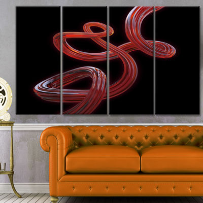 Designart Flexible Caramel Line On Black AbstractCanvas Art Print - 4 Panels