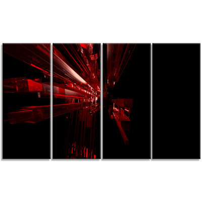 3D Red Crystal Background Abstract Canvas Art Print - 4 Panels