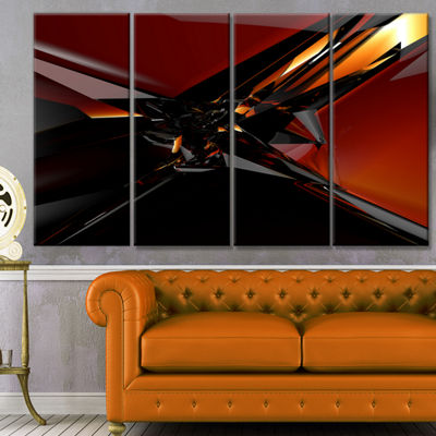 Designart 3D Abstract Red Glass Design Abstract Canvas Art Print - 4 Panels