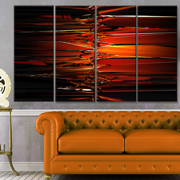 Designart Colorful Abstract Glass Design AbstractCanvas Art Print - 4 Panels