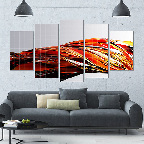 Design Art Red Faceted Crystal Texture Contemporary Canvas Art Print - 5 Panels