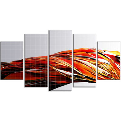 Designart Red Faceted Crystal Texture ContemporaryCanvas Art Print - 5 Panels