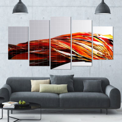 Designart Red Faceted Crystal Texture Abstract Canvas Art Print - 5 Panels