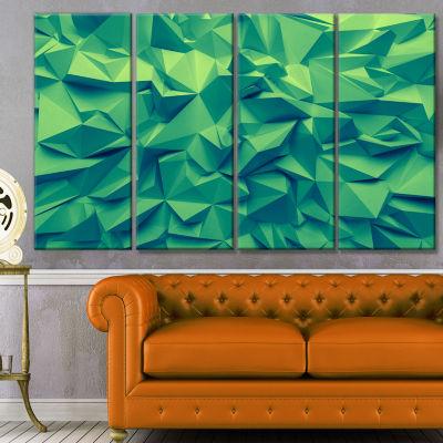 Designart Trendy Emerald Green Background AbstractCanvas Art Print - 4 Panels