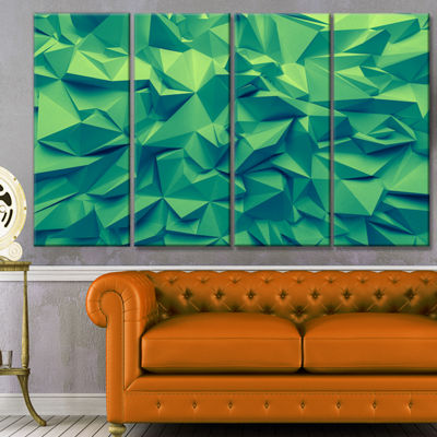 Designart Trendy Emerald Green Background AbstractCanvas Art Print - 4 Panels