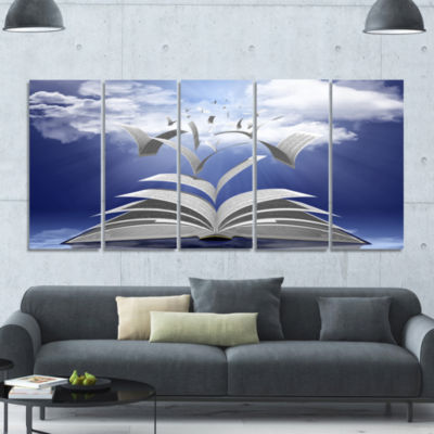 Book Pages Skyward Abstract Canvas Art Print - 5 Panels