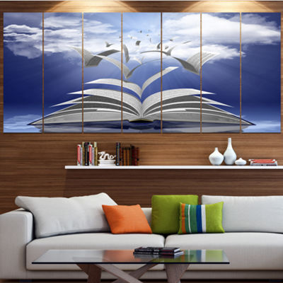 Designart Book Pages Skyward Abstract Canvas ArtPrint - 5 Panels