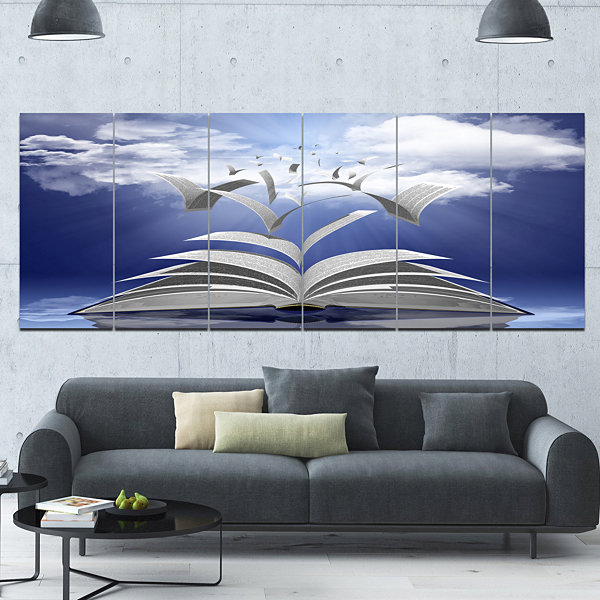 Design Art Book Pages Skyward Abstract Canvas ArtPrint - 6 Panels