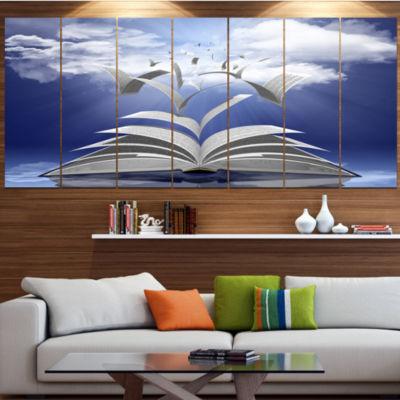 Designart Book Pages Skyward Abstract Canvas ArtPrint - 7 Panels