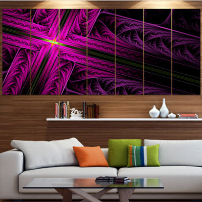 Designart Bright Flash At The Intersection Contemporary Canvas Art Print - 5 Panels