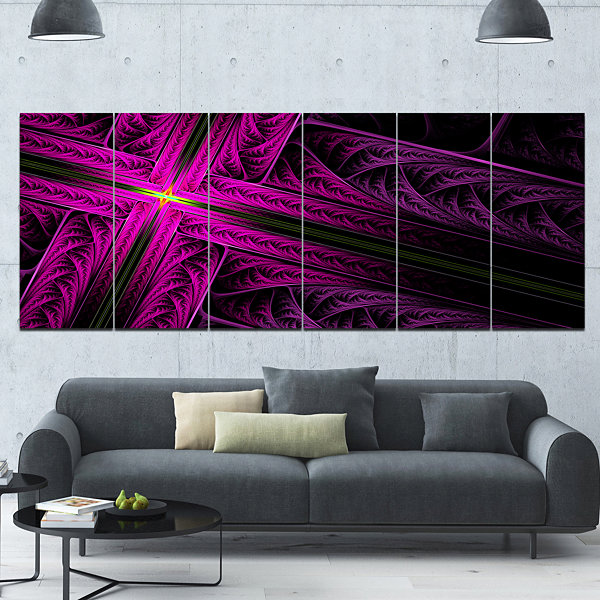 Designart Bright Flash At The Intersection Abstract Canvas Art Print - 6 Panels