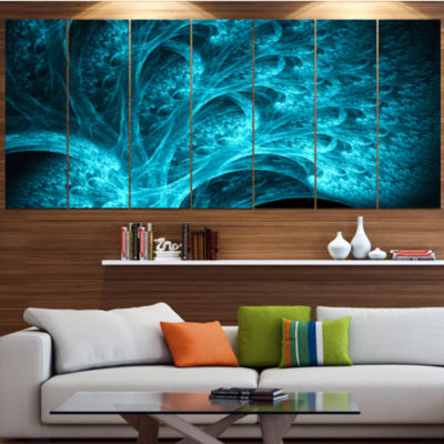 Design Art Magical Blue Psychedelic Forest Contemporary Canvas Art Print - 5 Panels