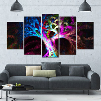 Designart Magical Multi Color Psychedelic Tree ContemporaryCanvas Art Print - 5 Panels