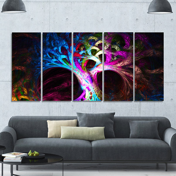 Design Art Magical Multi Color Psychedelic Tree Abstract Canvas Art Print - 5 Panels