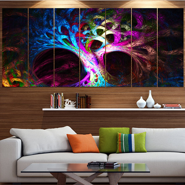 Designart Magical Multi Color Psychedelic Tree Abstract Canvas Art Print - 5 Panels