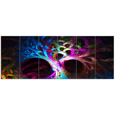 Designart Magical Multi Color Psychedelic Tree Abstract Canvas Art Print - 6 Panels