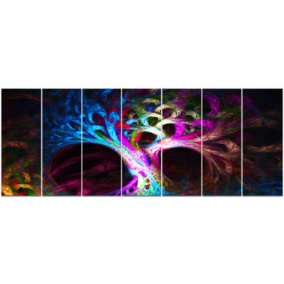 Magical Multi Color Psychedelic Tree Abstract Canvas Art Print - 7 Panels