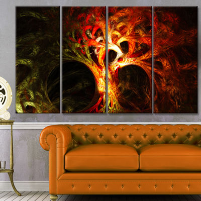 Designart Magical Orange Psychedelic Tree AbstractCanvas Art Print - 4 Panels