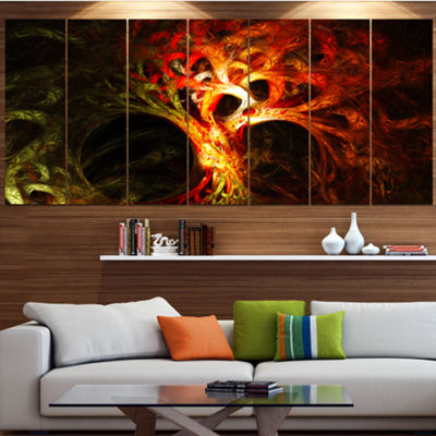 Designart Magical Orange Psychedelic Tree Contemporary Canvas Art Print - 5 Panels