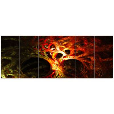 Magical Orange Psychedelic Tree Abstract Canvas Art Print - 6 Panels