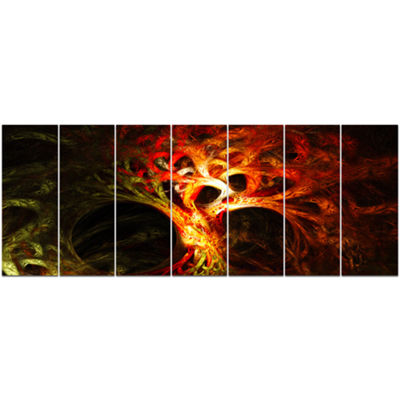 Designart Magical Orange Psychedelic Tree AbstractCanvas Art Print - 7 Panels