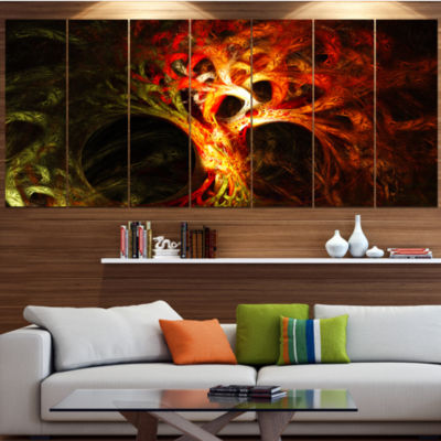 Magical Orange Psychedelic Tree Abstract Canvas Art Print - 7 Panels