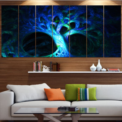 Designart Magical Blue Psychedelic Tree Contemporary Canvas Art Print - 5 Panels