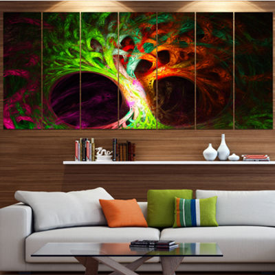 Designart Magical Green Psychedelic Tree AbstractArt On Canvas - 4 Panels