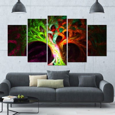 Designart Magical Green Psychedelic Tree Contemporary Art OnCanvas - 5 Panels