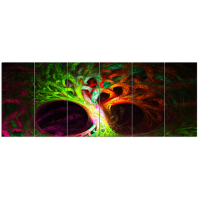 Designart Magical Green Psychedelic Tree AbstractArt On Canvas - 6 Panels
