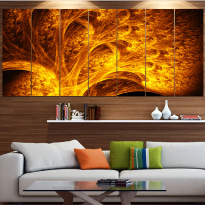 Magical Yellow Psychedelic Tree Abstract Art On Canvas - 7 Panels