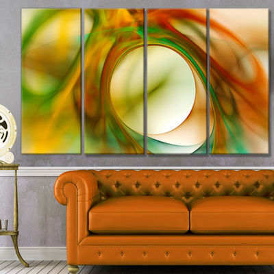 Designart Circled Green Psychedelic Texture Abstract Art OnCanvas - 4 Panels