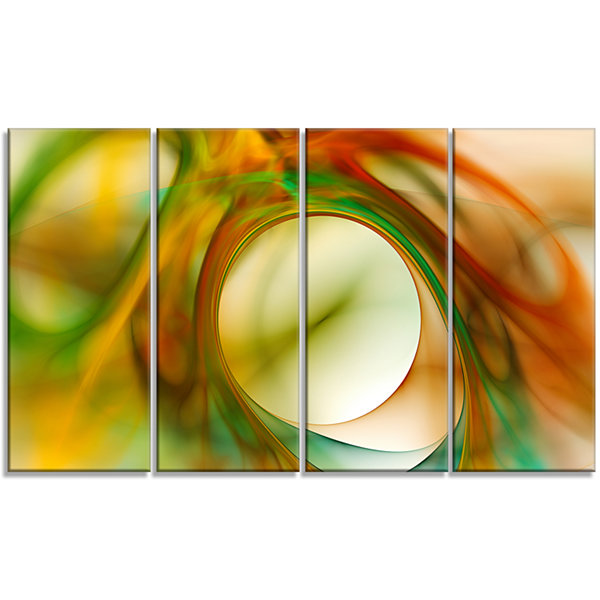 Design Art Circled Green Psychedelic Texture Abstract Art OnCanvas - 4 Panels