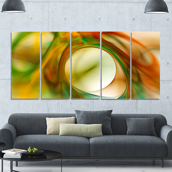 Design Art Circled Green Psychedelic Texture Abstract Art OnCanvas - 5 Panels