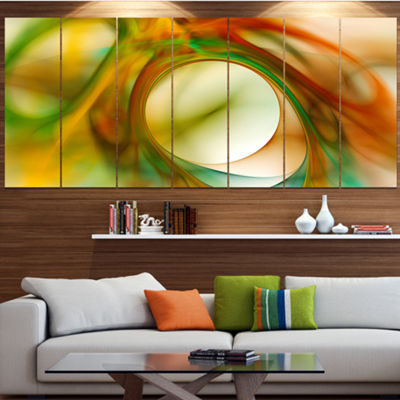 Designart Circled Green Psychedelic Texture Abstract Art OnCanvas - 6 Panels